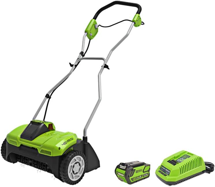 Greenworks 40V 14-Inch Cordeless Dethatcher Scarifier, 4Ah Battery and Charger Included DHF301