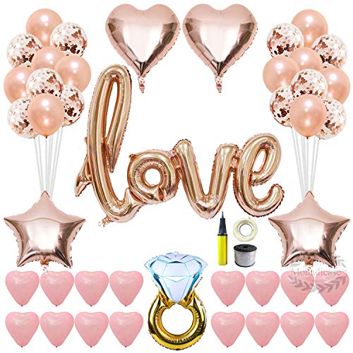 Valentines Day Love Balloons Kit Decorations - 42 Inch Love Foil Balloon Decor, 12 Inch Rose Gold Confetti Balloons and Pink Latex Heart Balloons with Air Pump, Gift for Wedding Bridal Shower Party ()