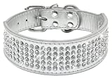 """Berry Pet Rhinestones Dog Collars - 5 Rows Full Sparkly Crystal Diamonds Studded PU Leather - 2 Inch Wide -Beautiful Bling Pet Appearance for Medium & Large Dogs,15-18"""" White Silver"""