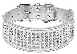 Silver Rhinestones Dog Collar