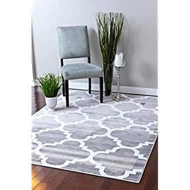 4518 Gray Moroccan Trellis 6'5x9'2 Area Rug Carpet Large New