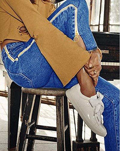 Azul Denim Boyfriend Jeans Vaqueros Campana Pantalones Mujeres wvOHgxqpw