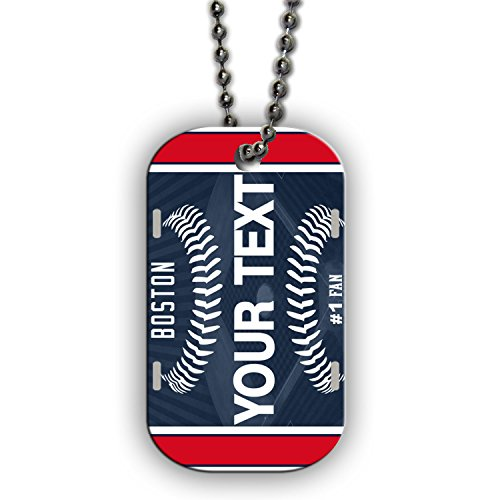 BleuReign(TM) Personalized Custom Name Baseball Boston License Plate Single Sided Metal Military ID Dog Tag with Beaded Chain