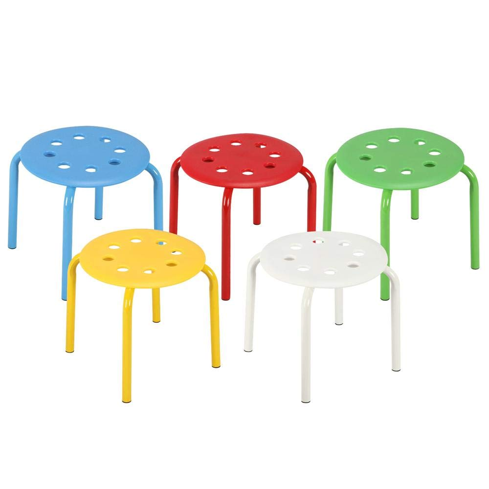 Topeakmart Classroom Stools for Kids Portable Plastic Stack Stackable Stools Bar Stools School Chairs Pack of 5 by Topeakmart