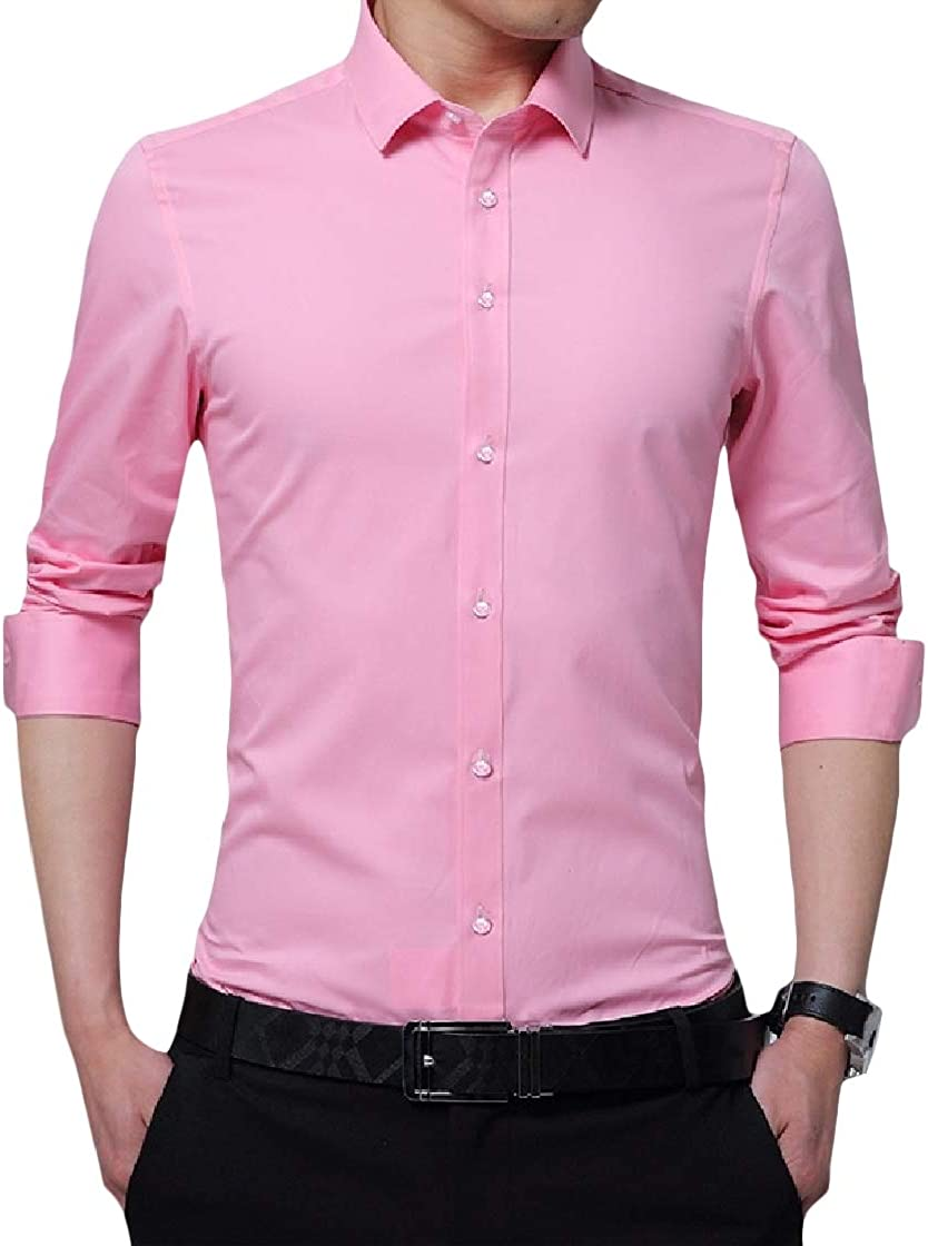 YUNY Mens Solid Business Plus Size Curvy Long Sleeve Lapel Button Top Shirt Pink S