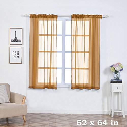 BalsaCircle 52 x 64-Inch Gold Sheer Organza Backdrop Window Drapes Curtains 2 Panels - Home Party Wedding Ceremony Decorations