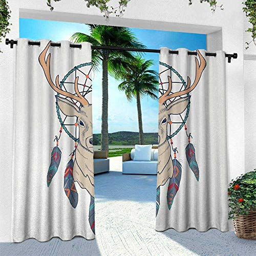 - leinuoyi Deer, Outdoor Curtain for Patio,Outdoor Patio Curtains, Roe Deer with Native American Tribal Dreamcatcher Ethnic Folk Art Style Sketch, W84 x L84 Inch, Beige Teal Cream