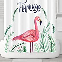 Cute Cartoon Animals Shower Curtains with Hooks, Flamingo Bird Plant Green Leaves, Waterproof mildew Resistant, 72 x 72 inches, Children Bathroom Gift, Red Green (Flamingo)