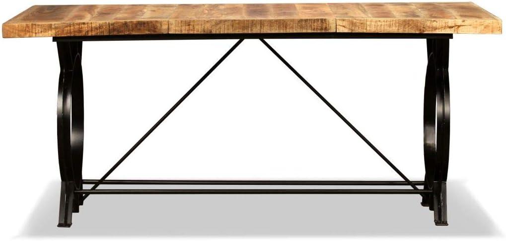 Esszimmertisch Esstisch Holz-Tischplatte Wohnzimmer Esszimmer M/öbel 180 x 90 x 77 cm Festnight K/üchentisch aus Massives Mangoholz Stahlbeine