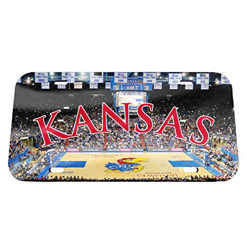 NCAA Kansas Jayhawks Basketball Court Crystal Mirror License Plate, 6 x 12