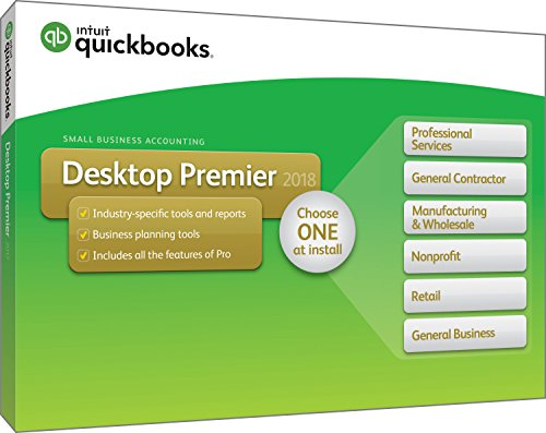 Intuit QuickBooks Desktop Premier 2018 with Industry Editions Small Business Accounting Software [PC Disc]