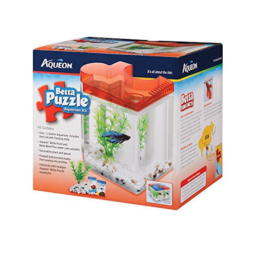 Aqueon Betta Puzzle Aquarium Kit (1/2 Gallon Red Lid With...