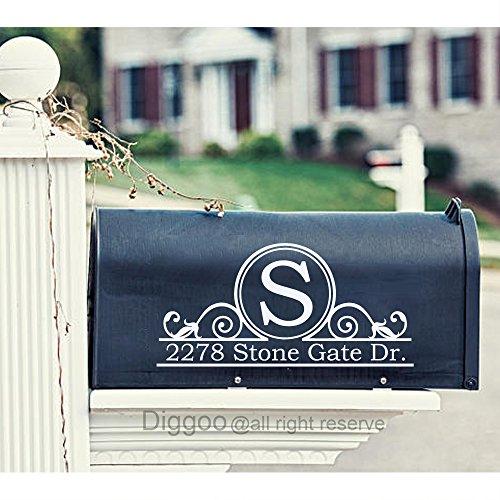 Set of 2 Personalized Vinyl Mailbox Decal Custom Family Address Decal Vinyl Sticker (7.5