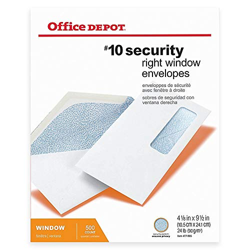 Office Depot Medical Claim Business Envelopes, 10 (4 1/8in. x 9 1/2in.), White, Box of 500, 77175