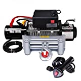 12 Volt 10000 lbs Wired Wireless Remote Industry Electric Recovery Jeep Tow Mount Winch w/ Efficient Three-stage Planetary Gear Train Automotive Braking Action