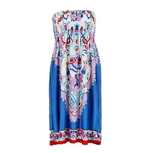 Weixinbuy Women's Bohemian Strapless Dress Printed Tube Skirt Blue XXL (Strapless Dress Xxl)