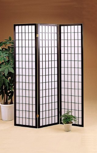 Wooden Folding Screen - ACME 02284 71-Inch-High Black Wood Folding Screen