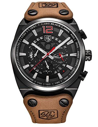 Gentlemans Chronograph Watch Black Dial (BENYAR Sport Men Watches Skeleton Military Chronograph Quartz Man Outdoor Big Dial Watch (Black red))