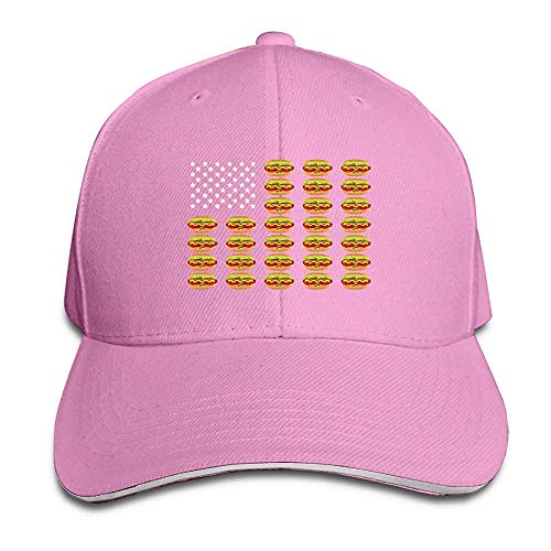 HONGANY Adult Baseball Caps Hot Dog American Flag Custom Adjustable Sandwich Cap Casquette Hats Pink -