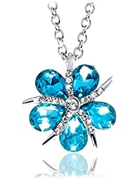 Five Petal Flower Silver Pendant Necklace – Stunning...