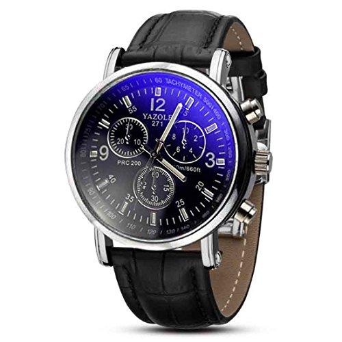 Black Auto Dial (HANYI Fashion Mens Quartz Analog Watch Watches -- Black Dial Black Band)