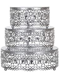 3-Piece Metal Cake Stand Risers Set with Crystal Rhinestones (Silver)