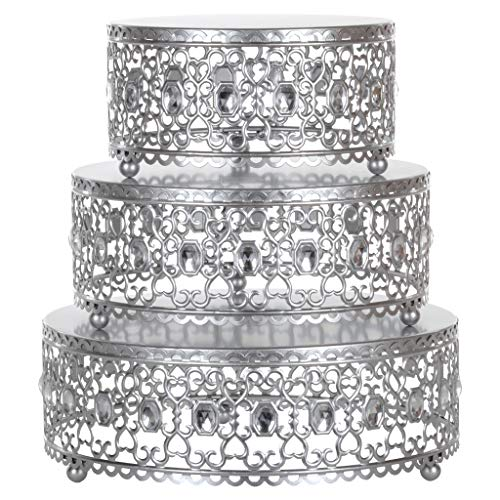 Amalfi Decor Cake Stand Plateau Riser Set of 3 Pack, Dessert Cupcake Pastry Candy Display Plate for Wedding Event Birthday Party, Round Metal Pedestal Holder with Crystal Gems, Silver ()