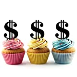 TA0350 Money Dollar Sign Silhouette Party Wedding Birthday Acrylic Cupcake Toppers Decor 10 pcs