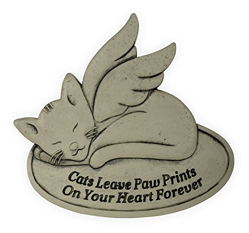 Angelstar Pet Memorial Garden Stone-Cats Leave Paw Prints on Your Heart Forever, Light Brown