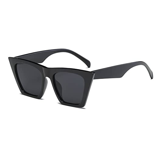 ed8963ee97 JJLIKER Fashion Cat Eye Square Oversized Sunglasses for Women Flat ...