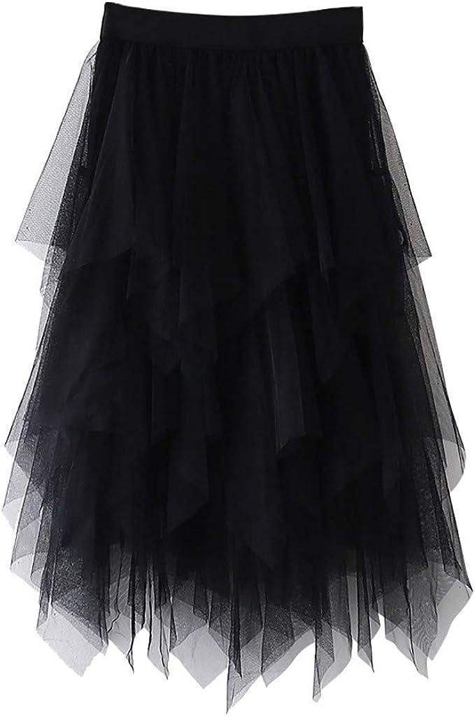 POTOU 2020 Falda de Tul para Mujer, Falda asimétrica, Corta ...