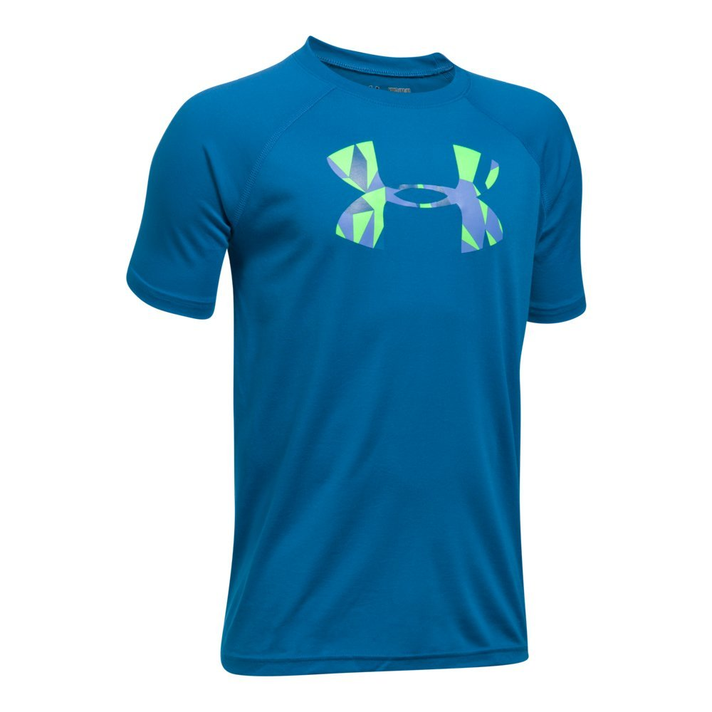 Under Armour Boys' Tech Big Logo T-Shirt, Cruise Blue /Quirky Lime, Youth X-Small