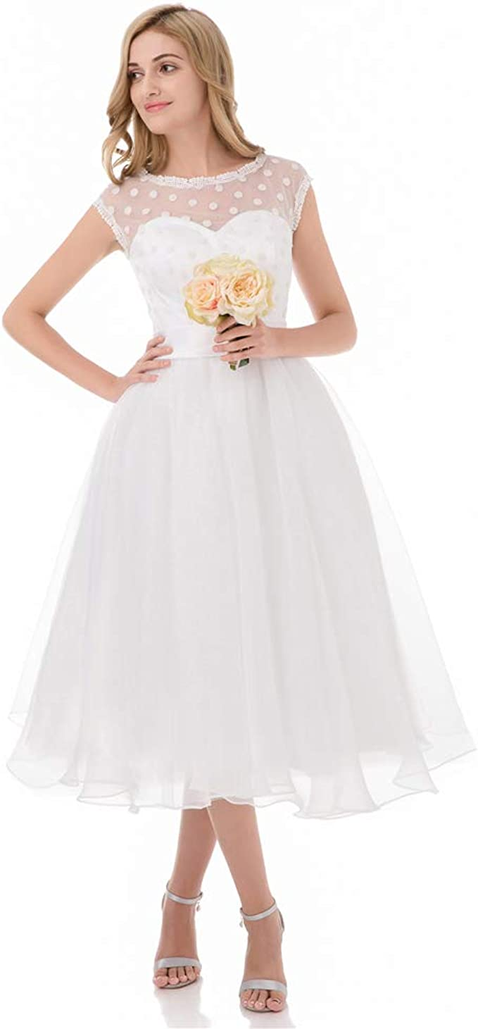 Ilovewedding 1950s Retro Polka Dotted Wedding Dress Tea Length