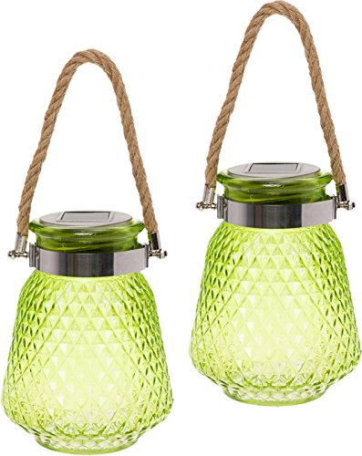 GreenLighting 2 Pack Solar Powered Mason Jar Light - Decorative LED Glass Table Light (Lime -