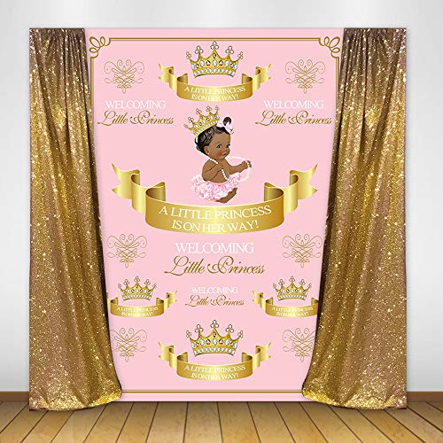(Mehofoto Royal Princess Baby Shower Backdrop Pink Crown Welcoming Princess Photography Background 5x7ft Vinyl Pink Baby Shower Party Banner Backdrops)