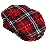 Red Plaid Snap Front Newsboy Golf Flat Ivy Cap Hat