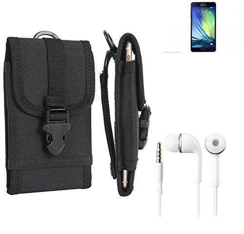 bolsa del cinturón / funda para Samsung Galaxy A7, negro + Auriculares | caja del teléfono cubierta protectora bolso - K-S-Trade (TM)
