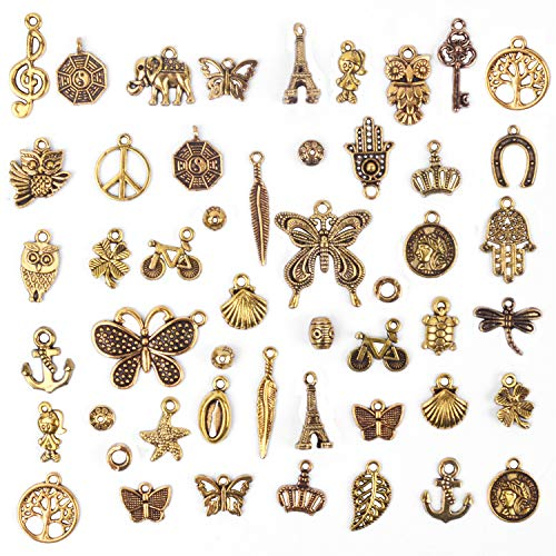 Antique Charms Bracelets - BronaGrand 50 Pieces Mixed Bracelet Charms Antique Necklace Pendants Bulk Pack for Craft and Jewelry Making, Antique Gold