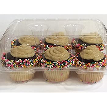 """Clear Cupcake Boxes 4"""" High for high toppinges- Holds 6 Cupcakes Each- 12/Pack"""