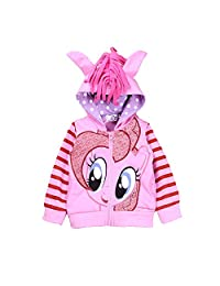SummitLink Little Pony Girls' Rainbow Dash Hoodie (130(5-6 years), Pinkie(Pink))