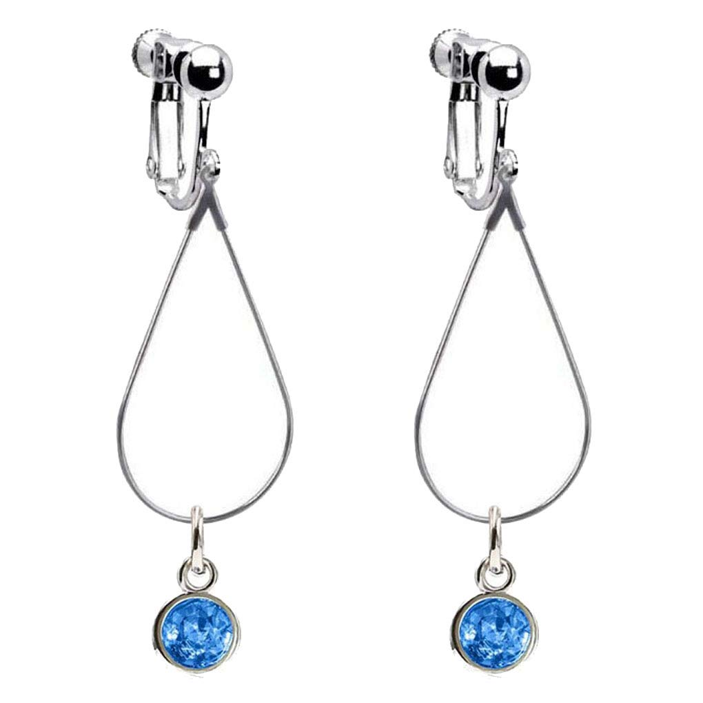 Oval Shape Clip on Earrings for Girls with Crystal March Birthstone Earring