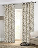 Alexandra Cole Jacquard Curtains Grommet Curtain Drapes for Bedroom Set of 2 Panels Golden Geo Pattern 54×84
