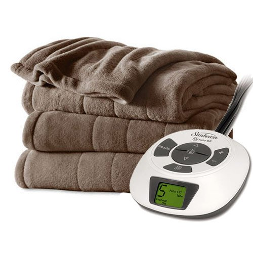 Sunbeam Velvet Plush Heated Blanket, ChoiceTouch Controller, Twin Size, Cocoa