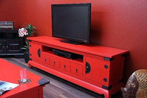Cómoda, TV, alta fidelidad, madera maciza, Colonial, rojo, bronce, antiguo, 192 x 64 x 44: Amazon.es: Hogar