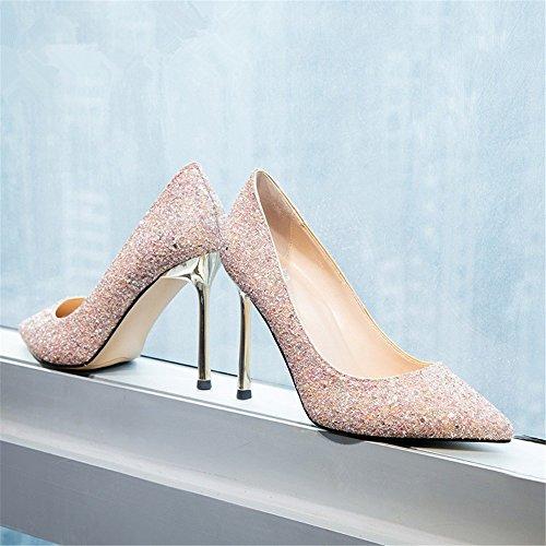HXVU56546 El Nuevo Presidente Solo Zapatos Primavera Y Otoño Fine Crystal Zapatos Con Tacones Altos Pink
