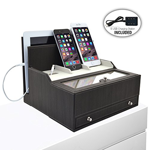 iCozy Charging Valet: Office / Desk Organizer & Electronics Caddy Faux Leather Station Grey