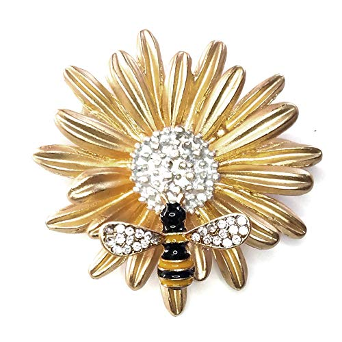 Gold Enameled Bumble Bee - Joji Boutique Golden Daisy Pin with Bejeweled & Enameled Bee