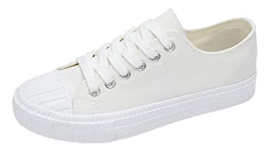 2341d37834bd75 Bevalsa Klassische Unisex Damen Schuhe Sneakers Sportschuhe Turnschuhe  Klassische Low Top Textil Schuhe Hoch Sneaker Leinenschuhe