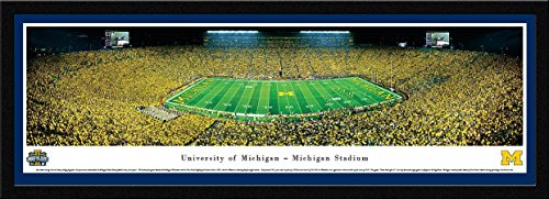 Michigan Football - Under The Lights - 50 Yard - Blakeway Panoramas College Sports Posters with Select Frame ()