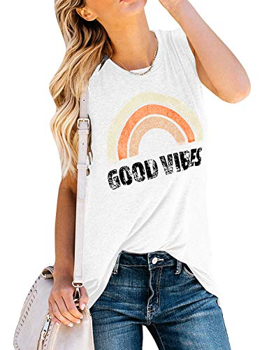 (IRISGOD Women's Tank Tops Graphic Tees Good Vibes Loose Fit Sleeveless Crew Neck T Shirts Tops White)